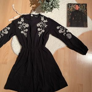 ✨ 2 FOR $30 Black Dress with Floral Detailing